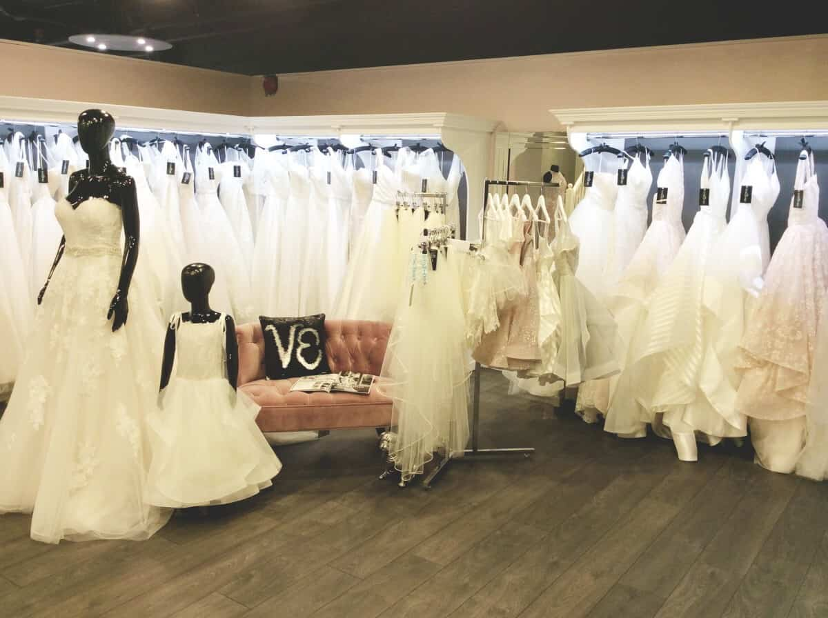 wedding dresses on rails